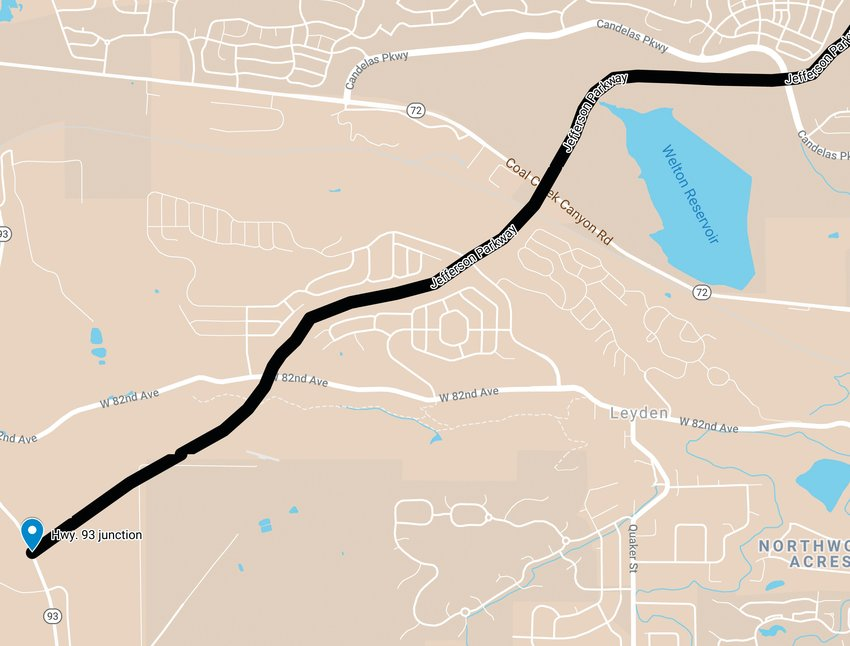 The proposed route of the Jefferson Parkway through Candelas and Leyden Rock, and the Highway 93 junction. The planned path of the parkway parallels Indiana Avenue northward, toward Broomfield.
