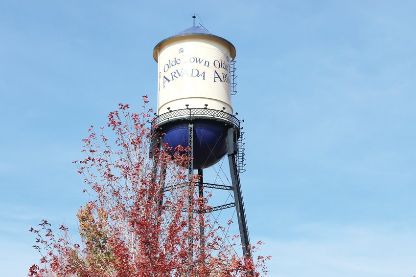 A view of the Arvada water tower from the south.