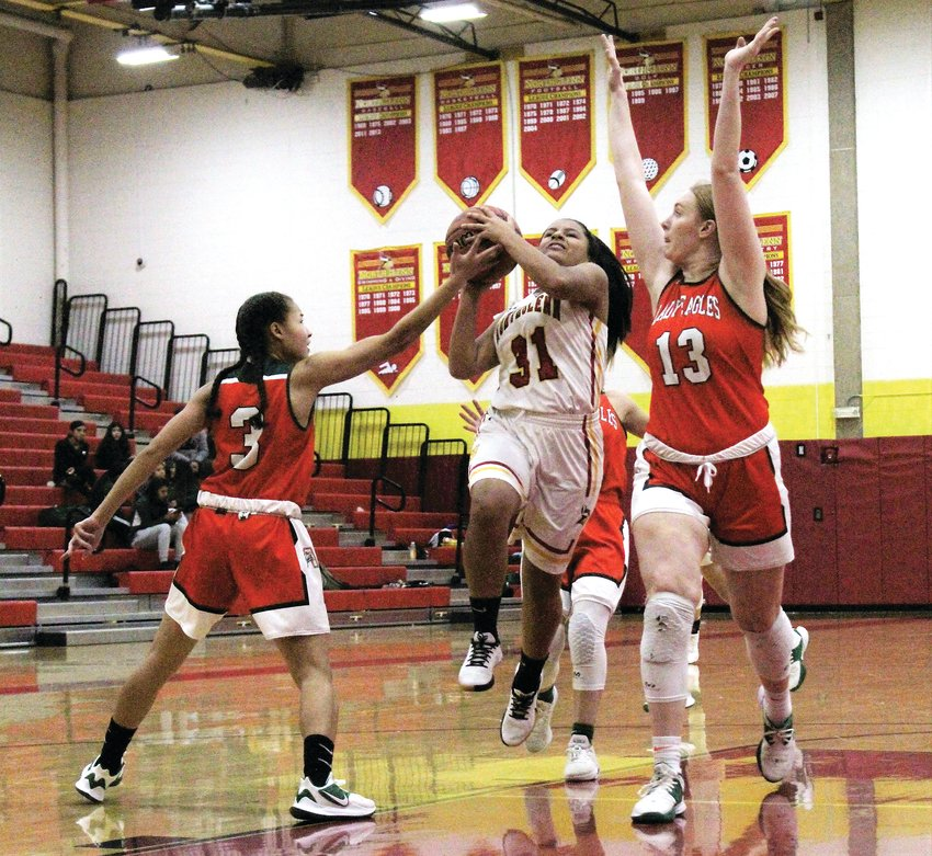 Against Adams City Jan. 22, 2020, Northglenn freshman Saleen Jaimes drives to the basket.