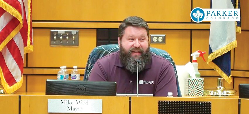 Mike Waid speaks during his final meeting as mayor of Parker in December.