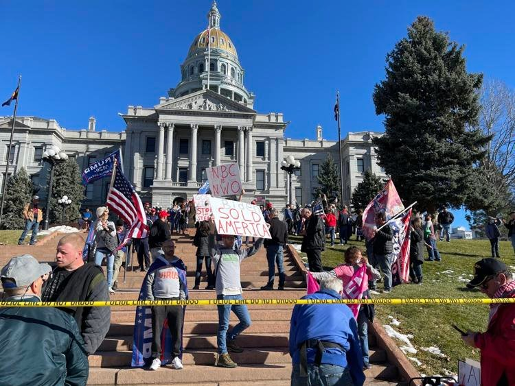Around 70 demonstrators gathered at Colorado's State Capital on Saturday to protest the results of the 2020 Presidential Election. Photo by David Mullen/The Denver Gazette