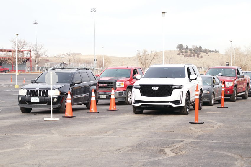 Cars line up outside Adams County's newest COVID-19 rapid testing site at the Riverdale Regional Park Jan. 7. The testing site will operate Wednesdays through Saturdays from 9 a.m. to 2 p.m. through March.