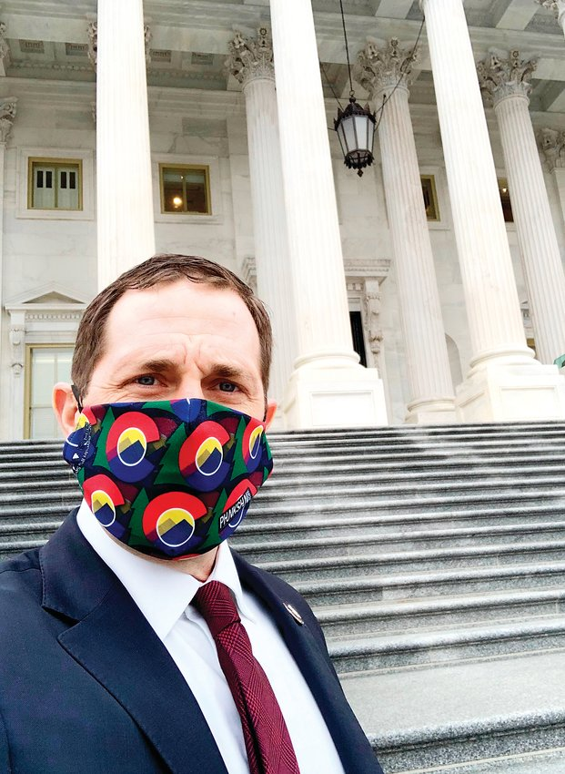 "U.S. Rep. Jason Crow posted this image of himself on his Twitter account, three days before protesters violently stormed the U.S. Capitol. ""Our nation is deeply divided, our politics polarized, the economy is reeling, and thousands of our fellow Americans have died in the pandemic,"" he wrote in the Twitter post Jan. 3."