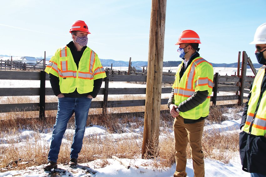 Sen. Michael Bennet, left, visited Douglas County Jan. 11 and learned about Sandstone Ranch and the I-25 gap project.