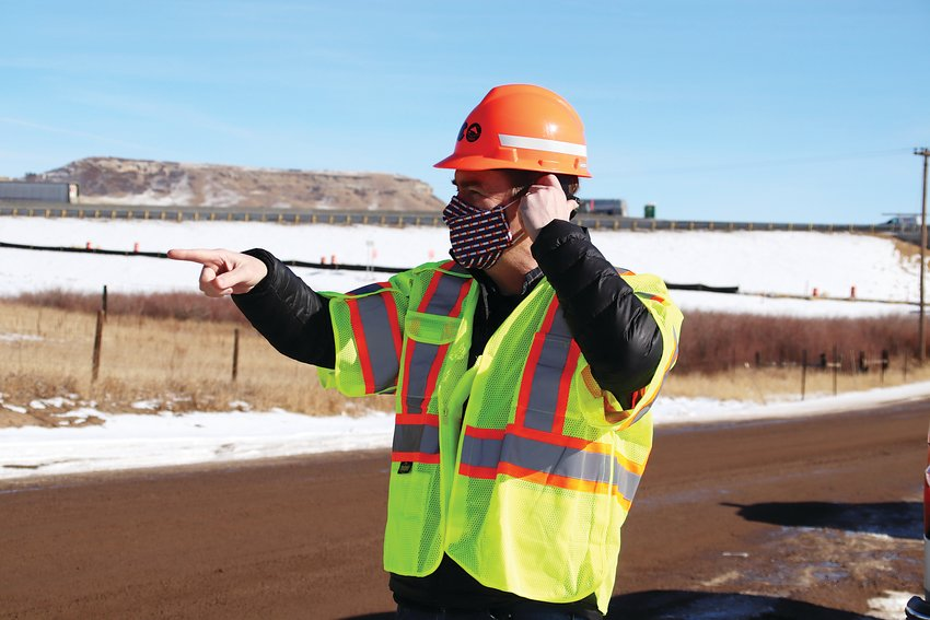 Sen. Michael Bennet visited a site next to I-25 during his visit to Douglas County Jan. 11.