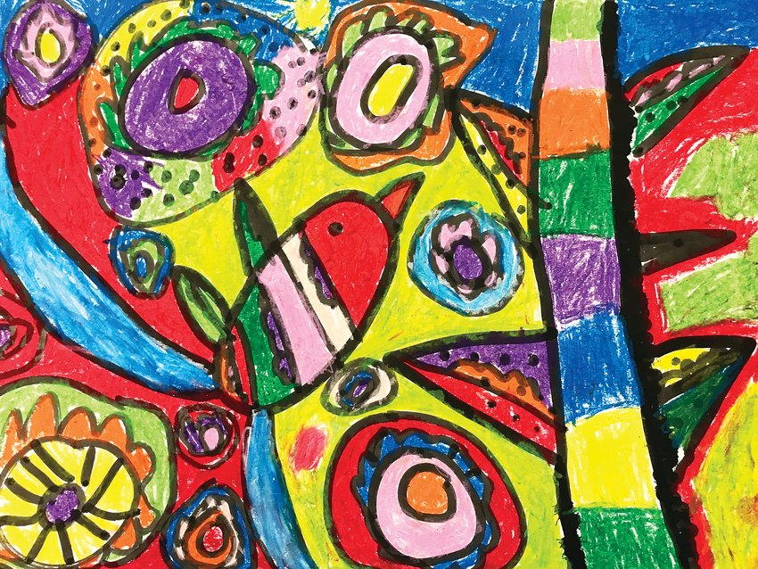 This year's Virtual District Art Show by Littleton Public Schools students will feature this artwork in ink and oil pastels by Liliana Mendoza, a first-grader at Centennial Academy of Fine Arts.