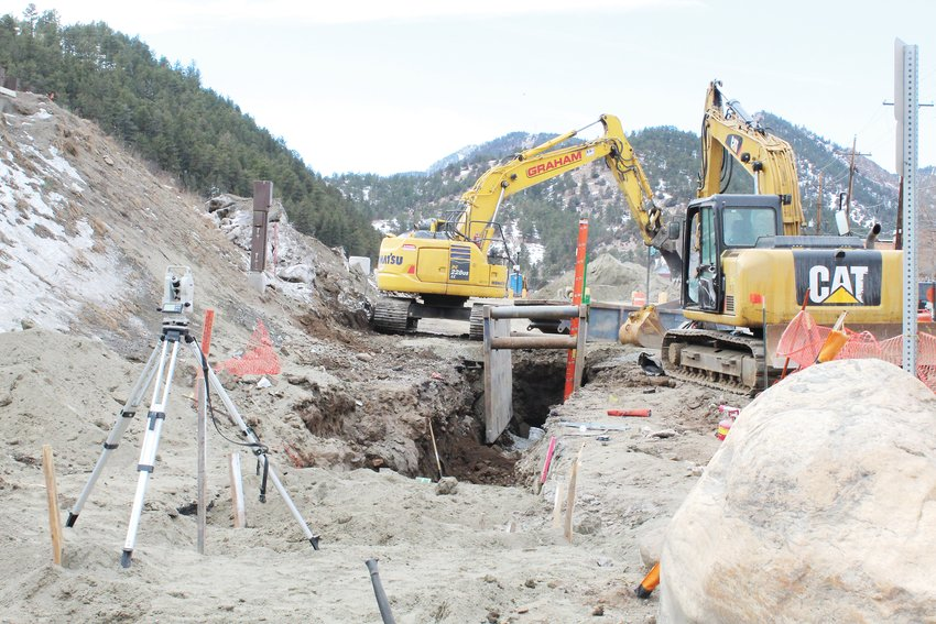 Work is underway on relocating the sewer main from the south side of Interstate 70 to the north side, including this area near Idaho Springs City Hall. According to City Administrator Andy Marsh, this relocation will make it easier for the city to maintain the sewer line.