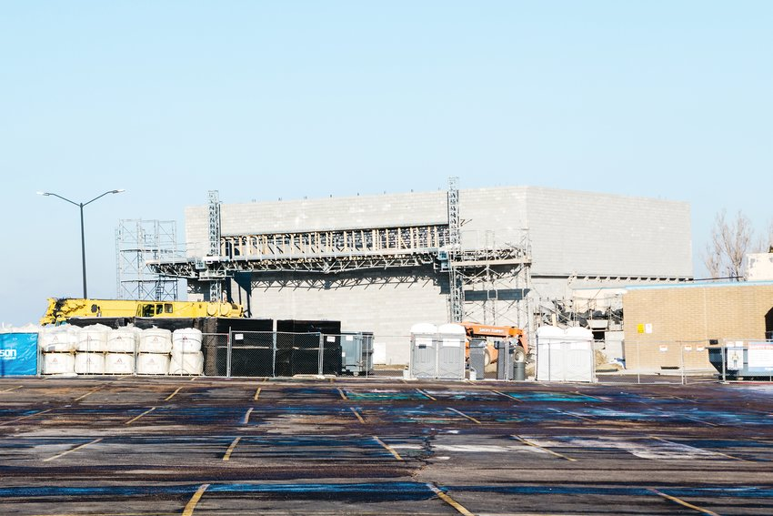 A new auxiliary gym taking shape at Jeffco's Green Mountain High School.