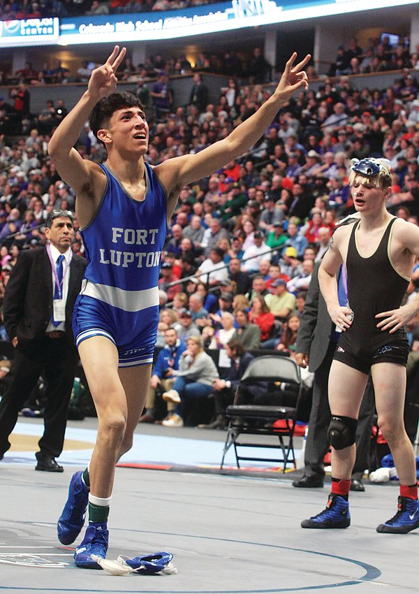 Former Fort Lupton wrestler Jacob Duran celebrates a state wrestling title at Pepsi Center in February.