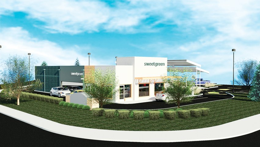 A rendering of the new Sweetgreen drive-thru, which will be located at 9215 South Broadway in Highlands Ranch. The drive-thru will have a large window so customers can see into the kitchen.