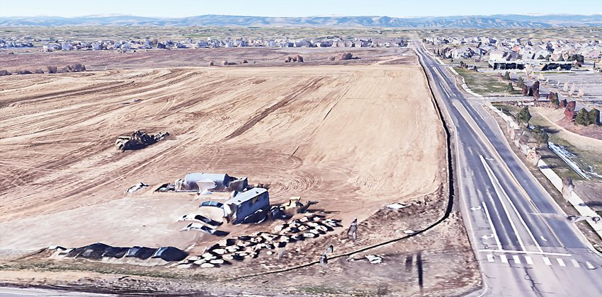 A bird's eye view of the lot at 128th and Quebec in Thornton where developers hope to put the Creekside Village development. Councilors approved the first reading of the proposal at their Jan. 12 meeting.