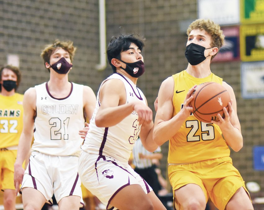 Green Mountain junior Corbin Jantzer (25) had a huge game for the Rams with 19 points, 9 rebounds and 3 steals in Green Mountain's 63-50 victory Feb. 3 over No. 4 Golden.