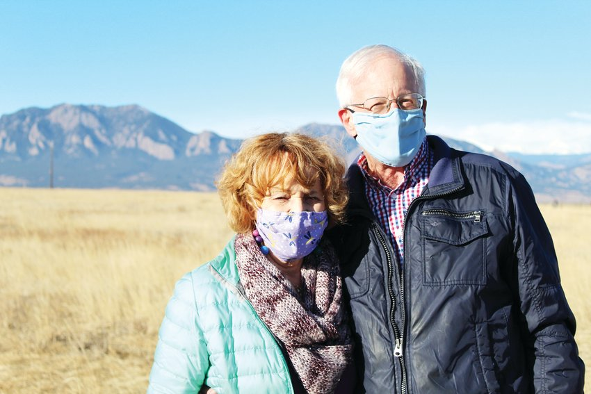 Chuck Coughlin and Marj O'Reilly spend time at Davidson Mesa Open Space on Jan. 23. After meeting O'Reilly in October, Coughlin proposed on New Year's Day. The two will be married June 11.