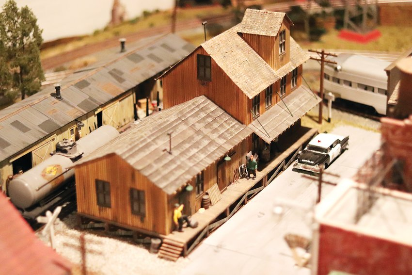 Ken Cook's Lionel train layout is rich with detail, like this street scene in the miniature village.