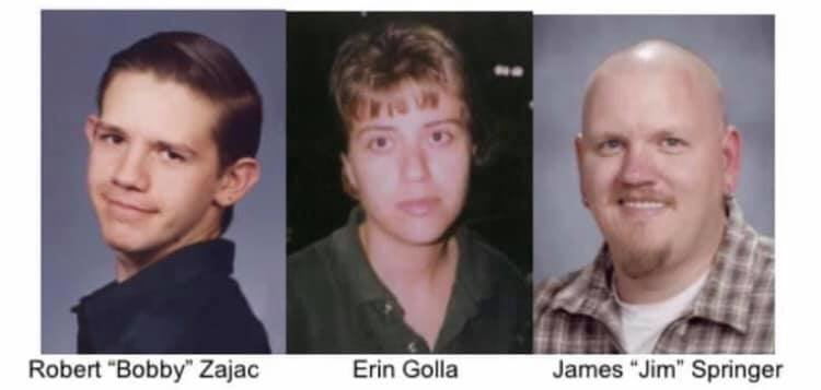 From left, Robert Zajac, Erin Golla and James Springer, who were killed at the AMF Broadway Lanes bowling alley on Jan. 27, 2002. Police say they are closer than ever to finding the perpetrator, but need witnesses to come forward. Courtesy photo
