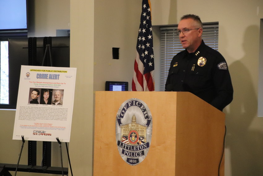 Littleton Police Chief Doug Stephens speaks at a press conference on Feb. 17. Stephens said new DNA analysis in a 2002 triple murder could finally help solve it. Photo by David Gilbert
