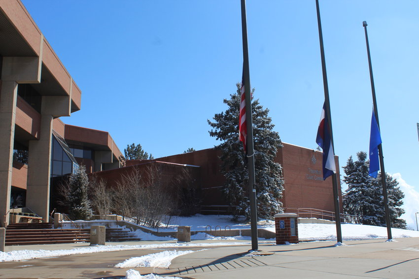 Gov. Jared Polis ordered all flags in Colorado at half-staff on Feb. 18 to honor Val Vigil, a former Colorado state representative and member of Thornton City Council, who passed away Feb. 5. The U.S. flag, state flag and city of Thornton flags at half-staff in front of Thornton Civic Center.