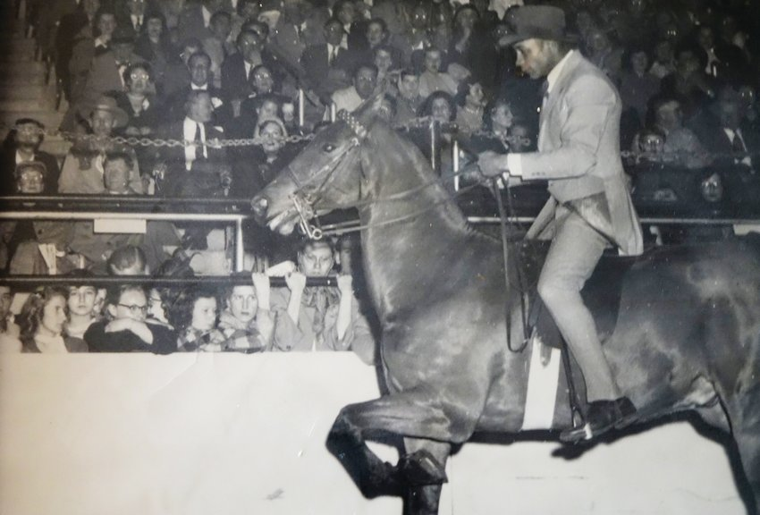 George Johnson showing a horse. Johnson opened his own stable, Happy Valley Stables, in Littleton in 1956. There, he trained to be a horse exhibitor at a time when very few African American people in the state did, said Johnson's daughter, GeorgeAnne Redd.
