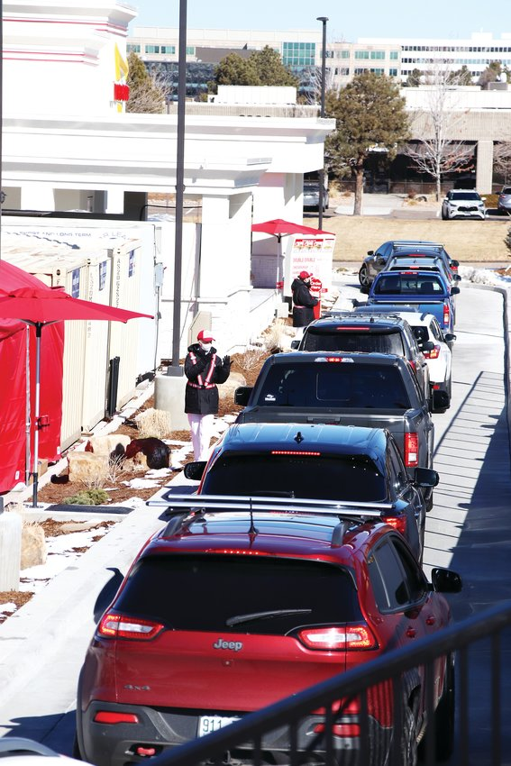 Cars fill the drive thru at In-N-Out's new Lone Tree location on opening day.