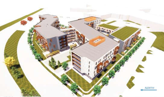 A rendering showing an aerial perspective of a possible design for the new multifamily development in the works for the parking lot of Southwest Plaza.