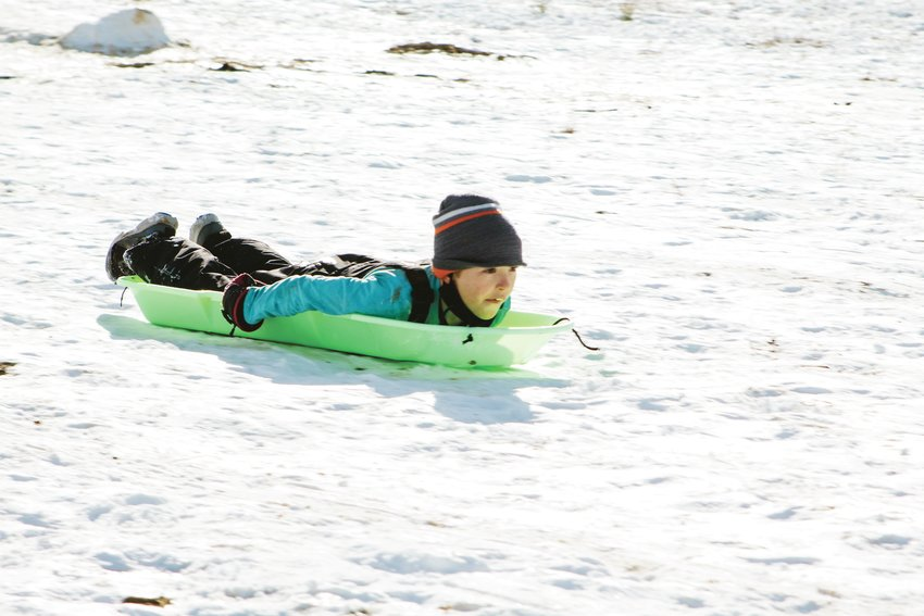 Cole Schenk showing no fear at South Jeffco's Sledding Hill near Kipling and Ken Caryl.