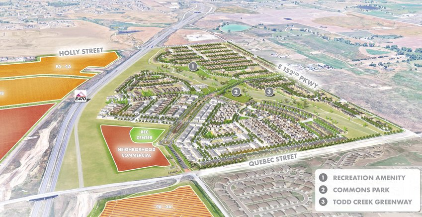 A rendering of the 800-acre Parterre neighborhood proposed to go in northeast Thornton. City council unanimously approved a metro district plan to finance the construction of Parterre at a Feb. 23 meeting. The renderings are still conceptual in nature and require further design and engineering.