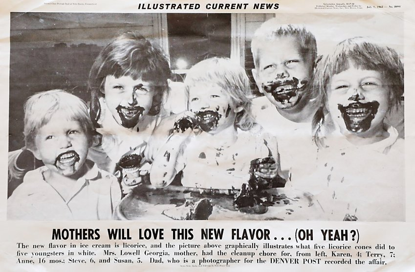 """A photographer sometimes finds inspiration close to home. Lowell often used subjects and locations in Arvada. In this case, 5 of his 6 children got to try out licorice ice cream when the new flavor premiered at Dipper Dan's Ice Cream Shop in Arvada Plaza Shopping Center. The picture was published in the Denver Post and picked up in other papers across the country,"" said Terry Georgia."