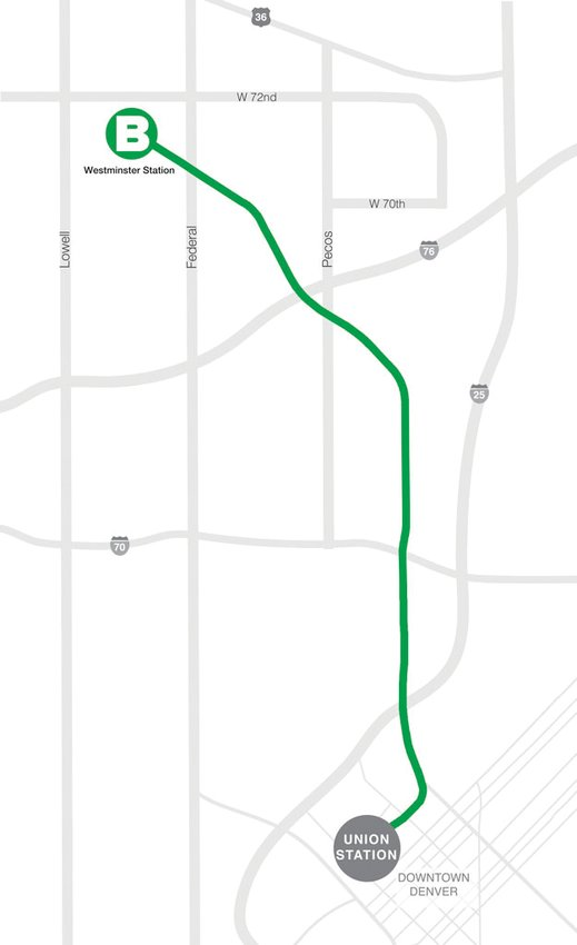Map of the RTD B line.