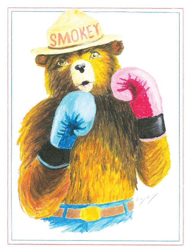 "Corey McDaniel's ""Smokey the Bear"" piece, inspired by the 2020 El Dorado Fire in Northern California."