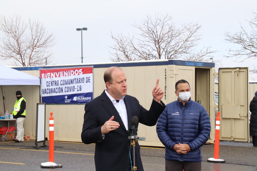 "Gov. Jared Polis visited a new mass vaccination site at the Dick's Sporting Goods Park in Commerce City that opened March 22. Initially, the new site's goal is to administer 2,000 doses of the COVID-19 vaccine per day, and eventually increase that to 6,000 per day. It is open four days a week for the first week, and it will be open more days in subsequent weeks. ""We really looked for sites that are easily accessible, centrally located and of course, can accommodate,"" Polis said on his visit. Dick's Sporting Goods Park site is one of several mass vaccination sites throughout the state."