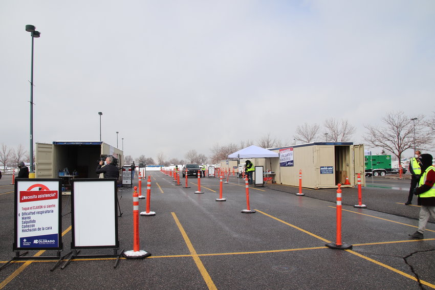 The mass COVID-19 vaccination site at Dick's Sporting Goods Park in Commerce City that opened March 22. The site's goal is to administer 2,000 doses of the COVID-19 vaccine a day and increase that to 6,000 per day. People drive up to a window to receive a shot. People can sign up by calling 720-263-5737 or by visiting https://www.centura.org/covid-19/covid-19-vaccine-information/vaccine-events.