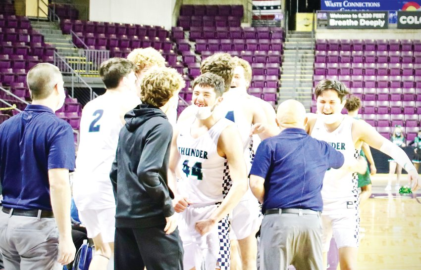 ThunderRidge players celebrate after defeating George Washington in the Class 5A boys championship game.