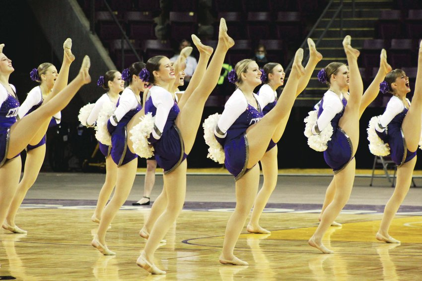 The Douglas County poms team competes at the State Spirit Championships Friday in Colorado Springs.