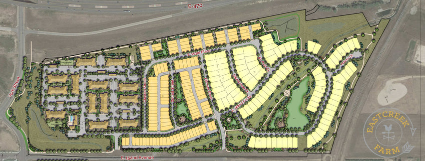 A site plan for Eastcreek Farm, a development that Thornton City Council approved a zoning amendment for at a March 23 meeting. The zoning amendment allows for 96 single-family detached homes, 128 townhomes and duplexes and 284 apartment units.