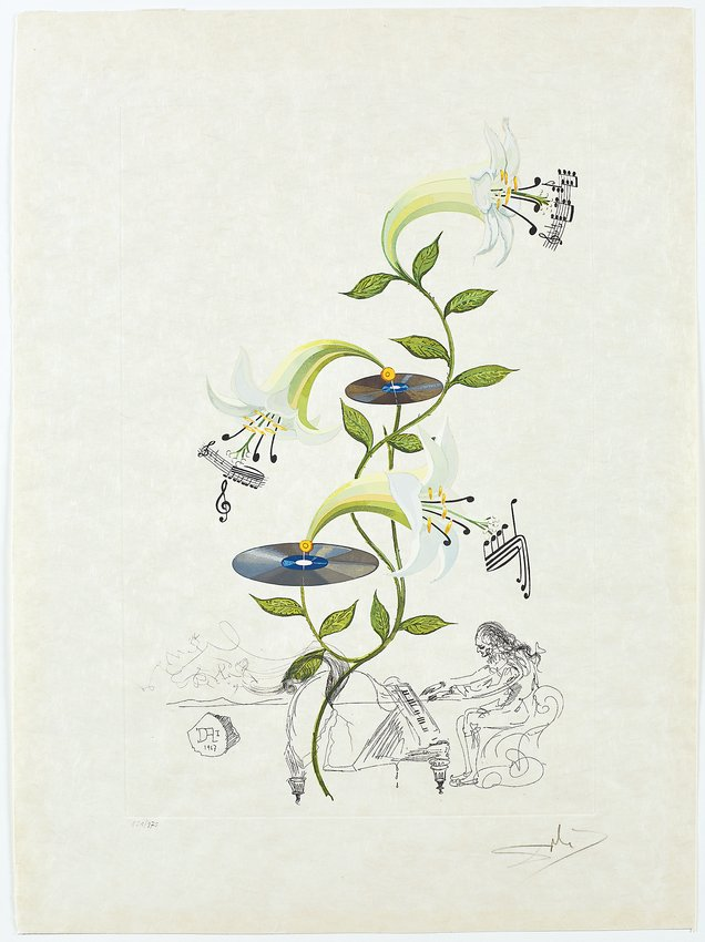 Lys (Lilium musicum) from FlorDali, 1968, photolithograph with original engraved remarque and color.