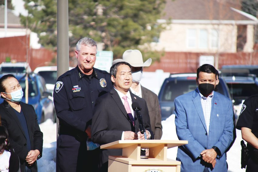 The Westminster Police Department held a press conference March 18 to denounce Asian American violence that featured representatives of the Denver-based Asian Chamber of Commerce. Shown here, Clarence Low, an Asian Chamber of Commerce board director, talks about violence against Asian people and his appreciation for the chamber's partnership with WPD. Westminster PD said it has taken several steps in the past year to strengthen ties with minority communities throughout the city.