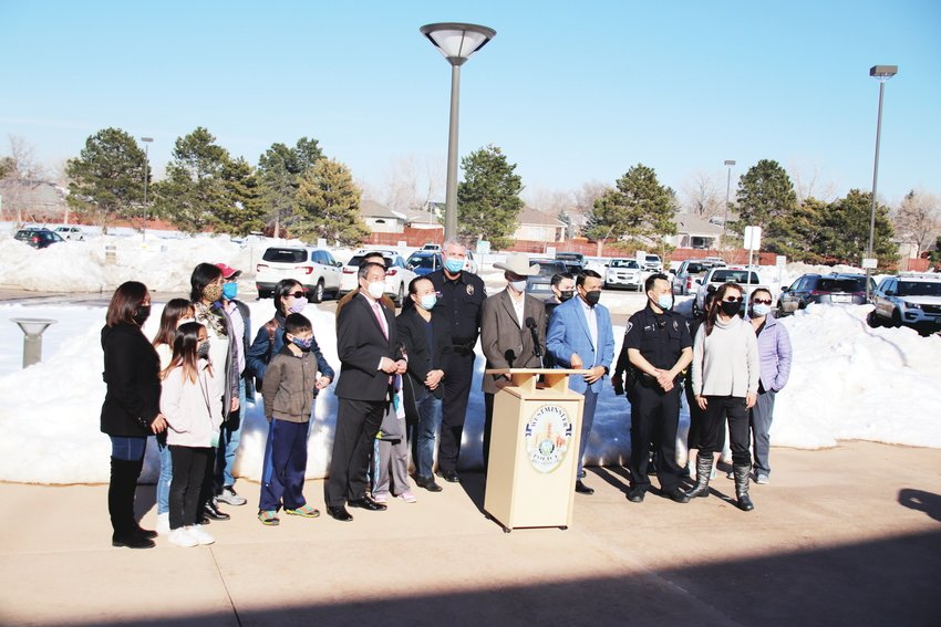 The Westminster Police Department held a press conference March 18 to denounce Asian American violence that featured representatives of the Denver-based Asian Chamber of Commerce. Westminster PD said it has taken several steps in the past year to strengthen ties with minority communities throughout the city.