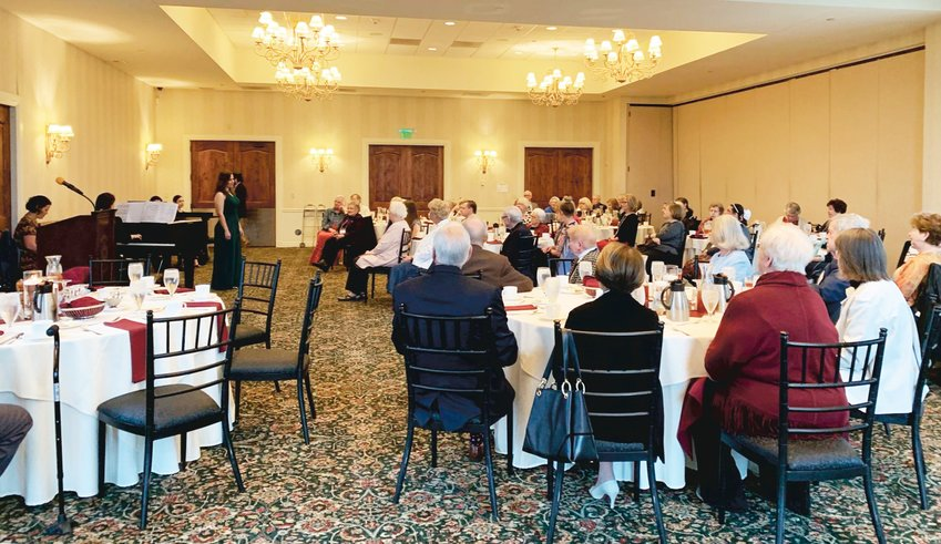 "Operatic entertainment was enjoyed in this 2020 ""Opera on Tuesday"" luncheon for Denver Lyric Opera Guild members at the Cherry Creek Country Club."