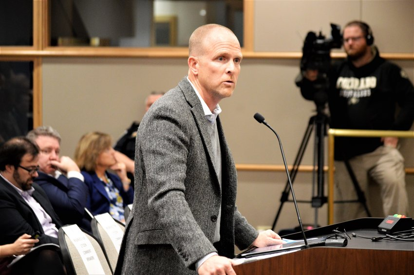 Developer Jeff Handlin addresses the Westminster Planning Commission at a hearing in January 2020.