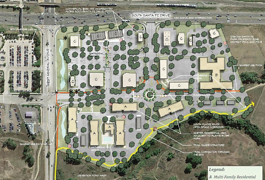 A rendering of Riverpark, a proposed development at the southwest corner of Santa Fe Drive and Mineral Avenue.