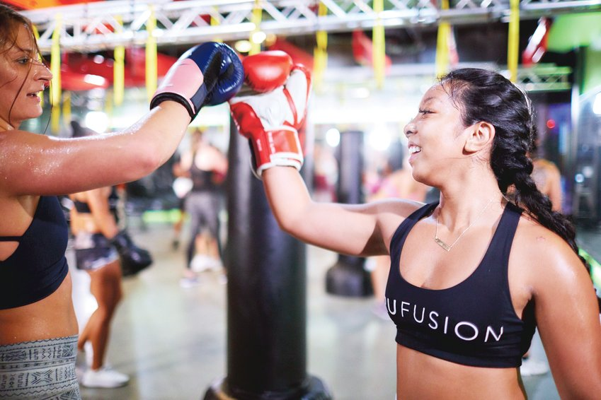 A boxing class at TruFusion in Denver.
