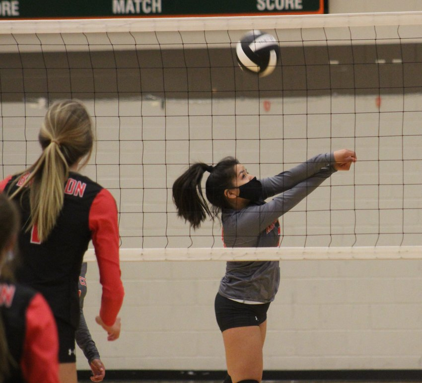 Lesly Tevillo of the Eagles volleys one over the net against Brighton April 15.