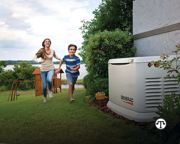 A permanently installed home standby generator can power the home for extended outages, running on natural gas or propane.