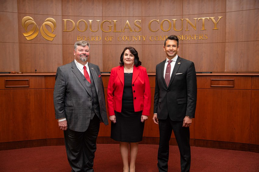 From left, Commissioners George Teal, Lora Thomas and Abe Laydon