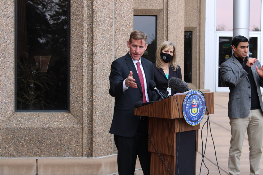 Boulder County District Attorney Michael Dougherty addresses the media at a press conference on April 22.