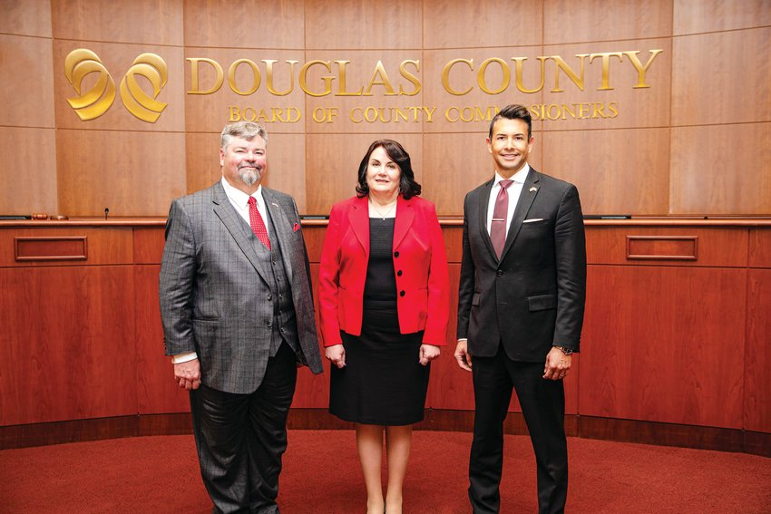 From left, Commissioners George Teal, Lora Thomas and Abe Laydon.