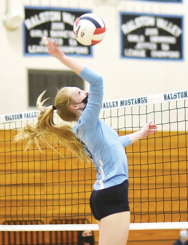 Ralston Valley junior Morgan McChesney helped the Mustangs dominate Valor Christian in a straight-set victory April 21.