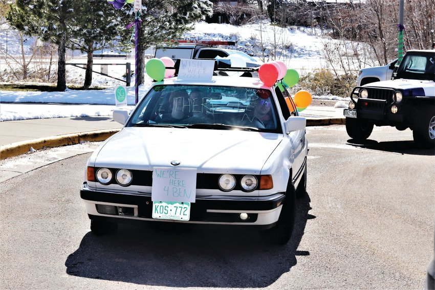 A decorated car in Golden High School's parade for Ben Bontrager.