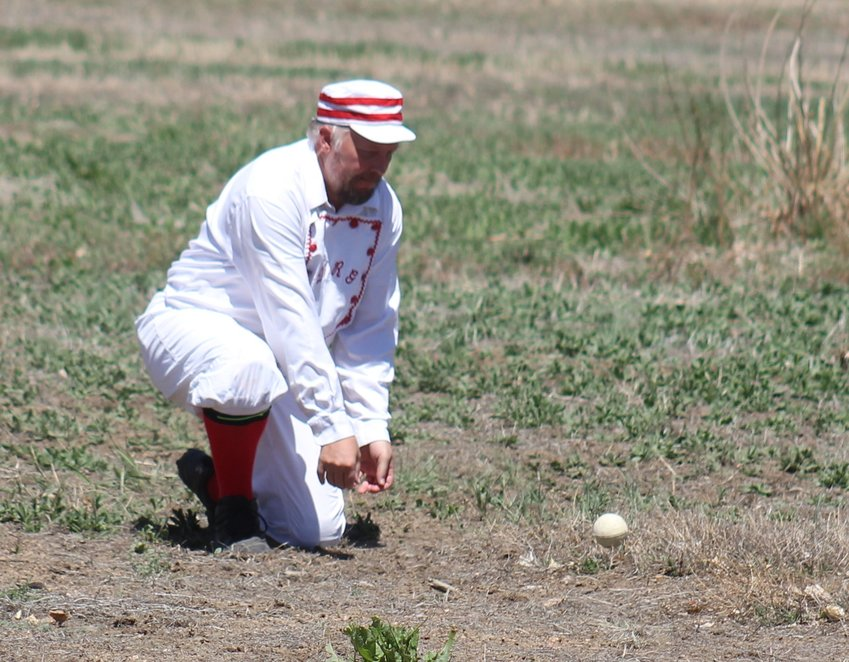 """Iceberg,"" the Colorado Springs Denver & Rio Grande's common-day shortstop, gets into position to field this grounder."