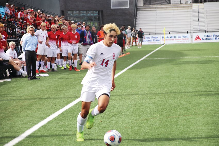 Cherry Creek's Cyrus Gulati takes the ball into the corner during the second half of the state boys soccer championship game on May 1 at Weidner Field in Colorado Springs. Fairview defeated the Bruins, 2-0.